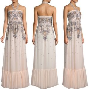 BCBGMAXAZRIA Embroidered Halter Neck Maxi Dress 6